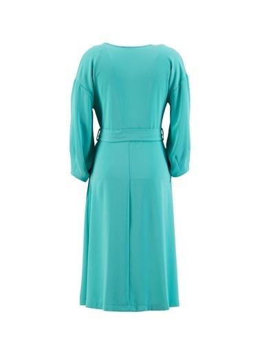 Setre Bej Kuşaklı Kruvaze Elbise Mavi